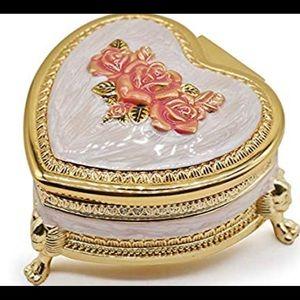 Vintage Trinket  Golden Heart shaped  Box